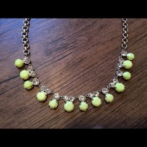 J. Crew neon yellow and crystal necklace